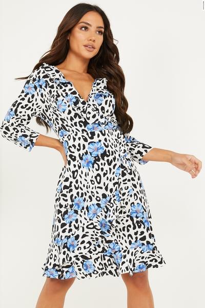 Blue Floral & Animal Print Wrap Dress